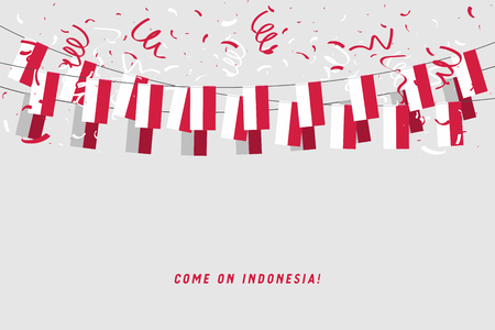 Indonesia garland flag with confetti on gray background, Hang bunting for Indonesia celebration template banner. vector