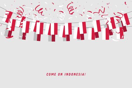 Indonesien-Girlandenflagge mit Konfetti auf grauem Hintergrund, hängende Flagge für Indonesien-Feierschablonenfahne. Vektor Vektorgrafik