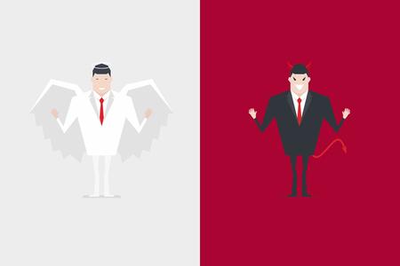 Personaje de dibujos animados de empresario ángel y diablo.