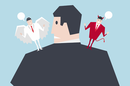 Angel and devil suggesting on businessman shoulders. Cartoon vector