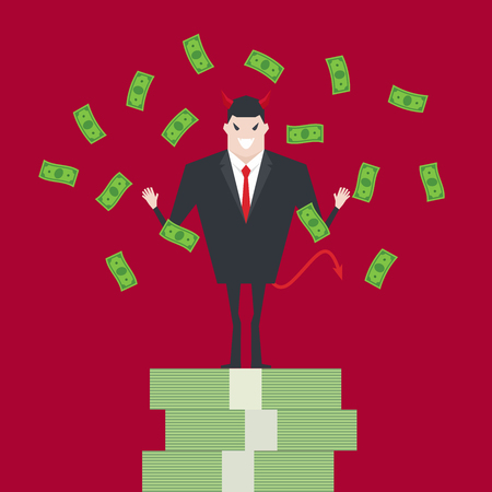 Devil businessman standing on growth money stairs. Иллюстрация