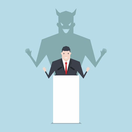Businessman talking on podium with shadow of devil.