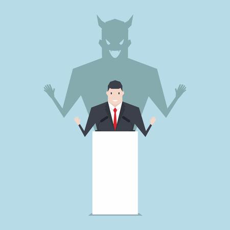 Businessman talking on podium with shadow of devil. Ilustracje wektorowe