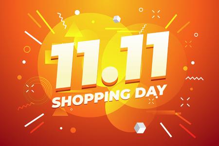 11.11 Conception d'affiches ou de flyers pour la journée de magasinage. Journée mondiale du shopping mondial Vente sur fond coloré. 11.11 Ventes folles en ligne.