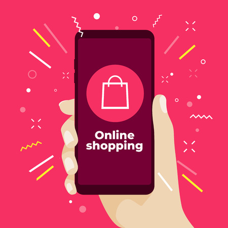 Online shopping concept with hand holding smartphone and online shop icons.