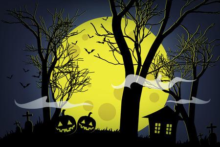 Halloween pumpkins and dark house on yellow moon background.
