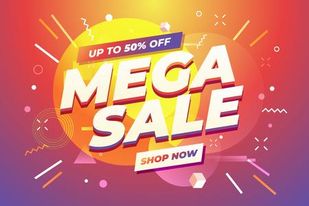 Mega Sale banner template design, Big sale special offer.