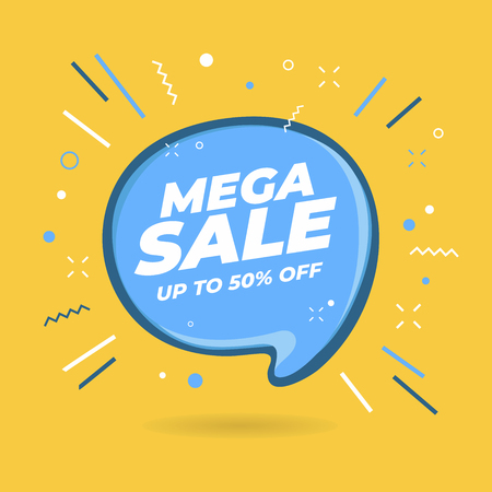 Mega Sale speech bubble shaped banners, price tags, stickers, badges.