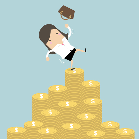 Businesswoman falling of money mountain.