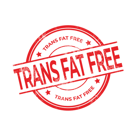 Trans Fat Free rubber red stamp isolated on white background.