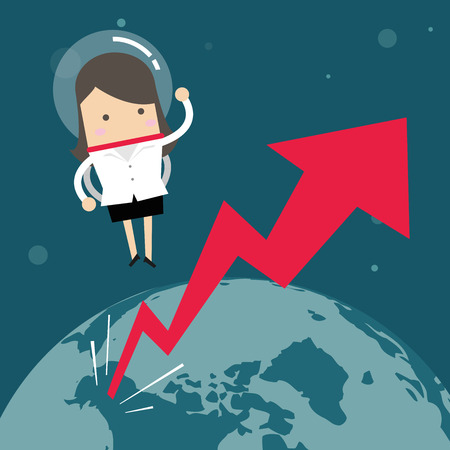 Businesswoman flying in a space with growth graph, Business Growth Concept. Illustration
