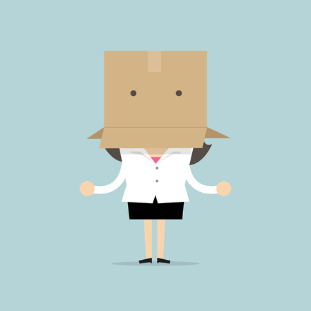 Businesswoman with a cardboard box on her head.