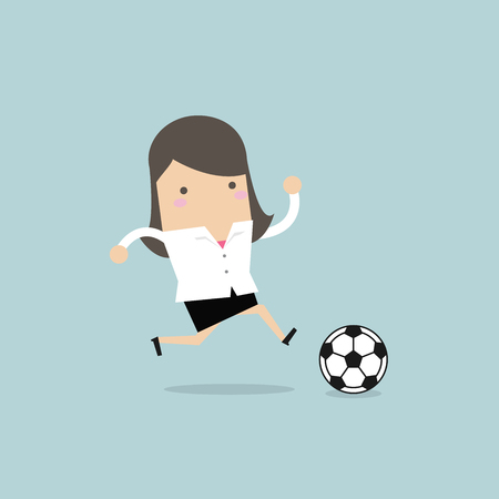 Businesswoman football player running with the ball.