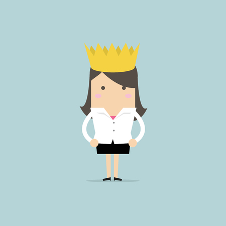 Businesswoman wearing a crown.