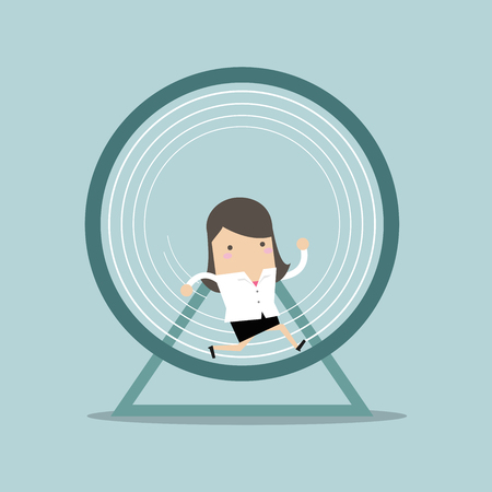 Businesswoman running in a hamster wheel. Illustration