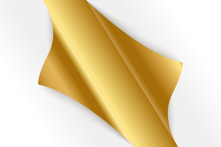 Sheet of curled gold paper background. Banco de Imagens - 112774817