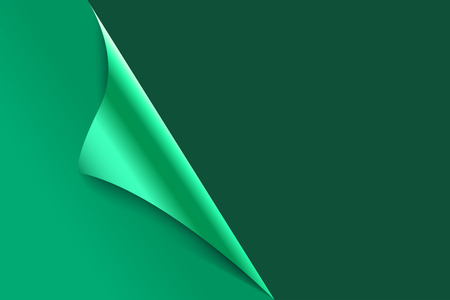 Sheet of curled green paper background.