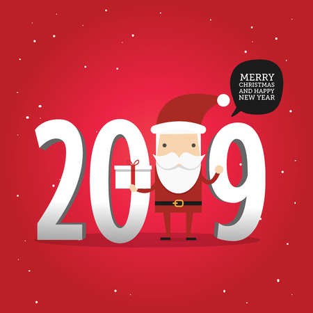 2019 New year and Merry Christmas Winter background with Santa Claus with gift box. Ilustração