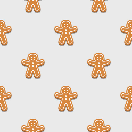 Gingerbread man. Christmas cookies. Seamless pattern background.