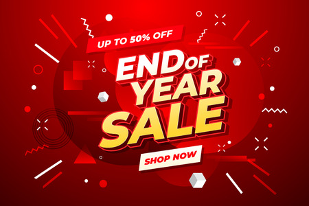 End of year sale banner. Sale banner template design. Иллюстрация