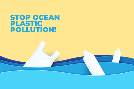 Stop ocean plastic pollution paper art vector illustration. World Water Day. Earth Day. Illustration