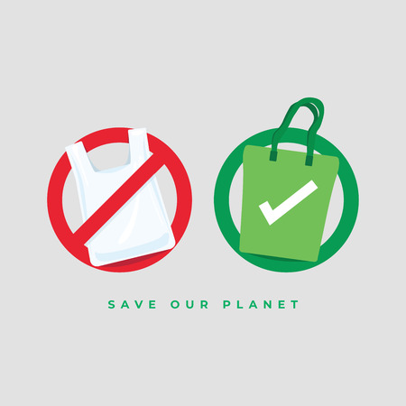 Say no to plastic bags and bring your own textile bag. Save our planet concept.