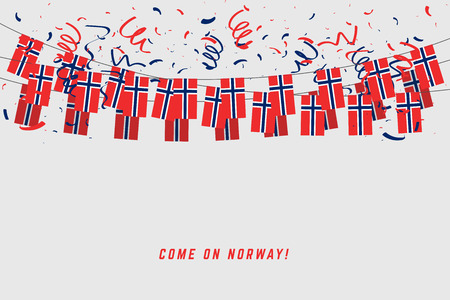 Norway garland flag with confetti on gray background, Hang bunting for Norway celebration template banner.
