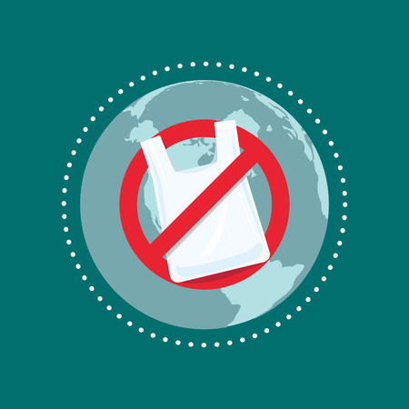 Say no to plastic bags. Stop plastic pollution concept.