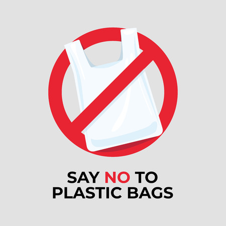 Say no to plastic bags sign.