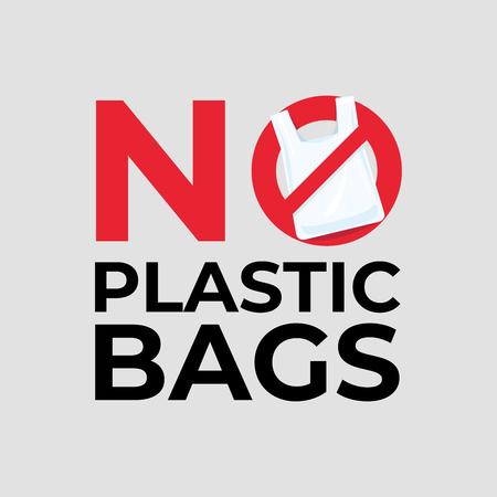 No Plastic Bag Concept. Ilustración de vector
