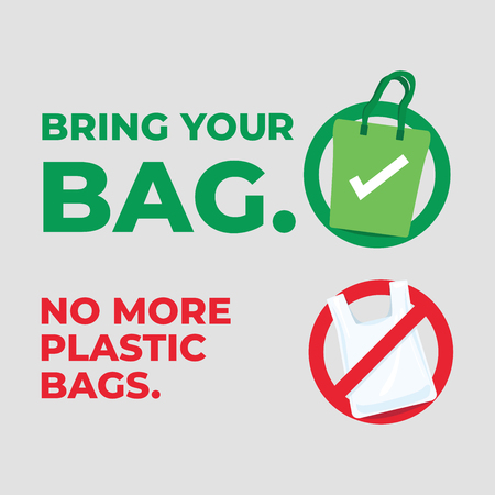 Bring your bag. No more plastic bags. Save our planet concept. Illustration