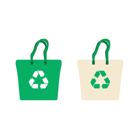 Fabric bag with recycling symbol. Illustration