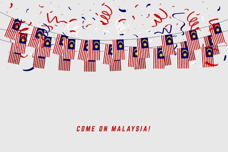 Malaysia garland flag with confetti on gray background, Hang bunting for Malaysia celebration template banner. Ilustração