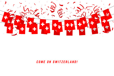 Switzerland garland flag with confetti on white background, Hang bunting for Switzerland celebration template banner. Illustration