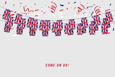 United Kingdom garland flag with confetti on gray background, Hang bunting for UK celebration template banner.