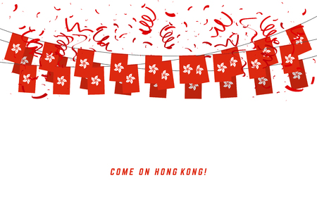 Hong Kong garland flag with confetti on white background, Hang bunting for Hong Kong celebration template banner.