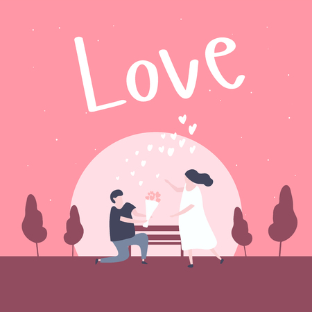 Man kneeling down and give flower to pretty woman in the park. Couple in love concept.