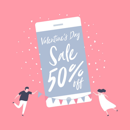 Sale promotion Valentines day on mobile phone for banner sale with lovely joyful couple celebration in pink background.
