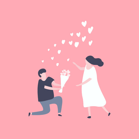 Man kneeling down and give flower to pretty woman. Couple in love concept. Illustration