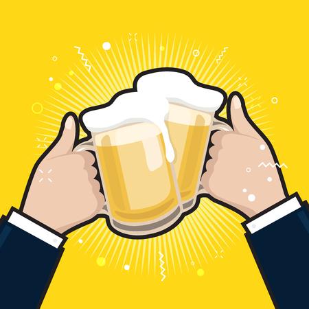 Businessmen holding beer mugs. Beer glasses foam clinking, meeting friends. 矢量图像