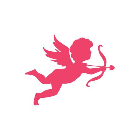 Cupidon ange de la silhouette de l'amour. Symbole de l'amour. Clipart de la Saint-Valentin.