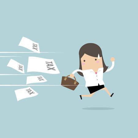 Businesswoman running away from tax invoice. Çizim
