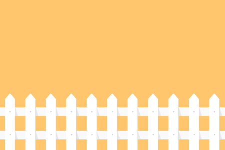 White garden fence on orange background in flat style.