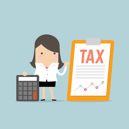 Businesswoman standing with tax document on clip board and calculator. Tax payment concept. Ilustración de vector