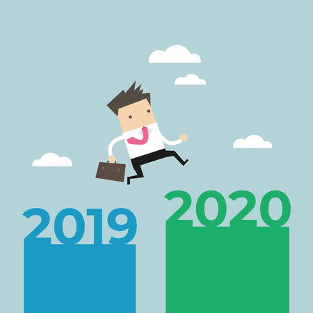 Businessman jump from 2019 to 2020.