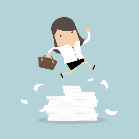 Businesswoman or manager jumping over obstacles. Large stack of documents.