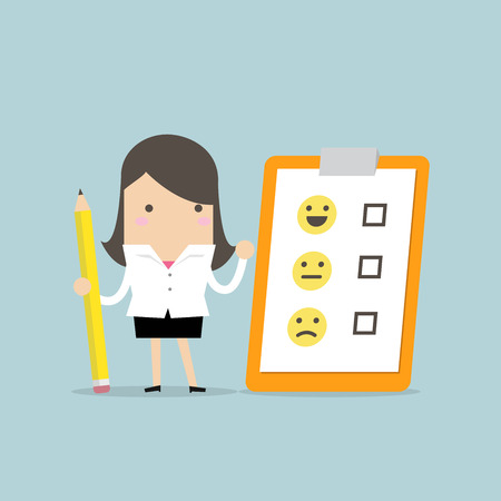 Businesswoman holding pencil and paper of checklist feedback on clipboard. Customer Evaluation. Feedback Emoticons.