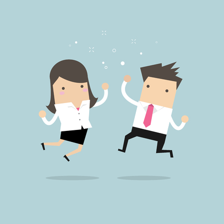 Happy Businessman and Businesswoman Jumping. Business Concept.