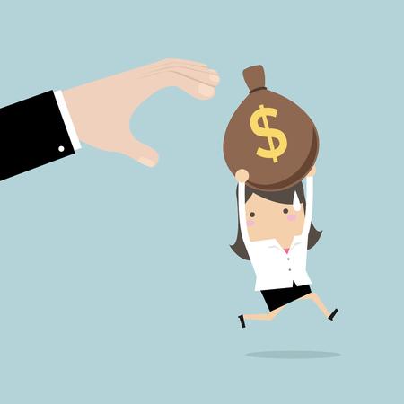 Businesswoman runs away boss hands to steal money bags