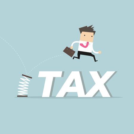 Empresario omitiendo impuestos con resorte. Ilustración de vector